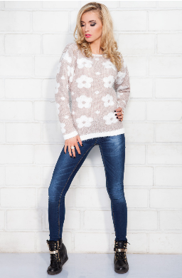 Kupić Długi miękki sweter z długim włosiem z kwiatowym wzorem