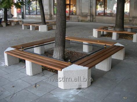 Kupić Ławka betonowa z drewnianym siedziskiem