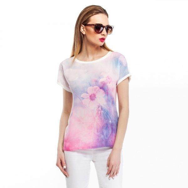 Kupić Bluzka z łączonych materiałów z kwiecistym nadrukiem- różowa
