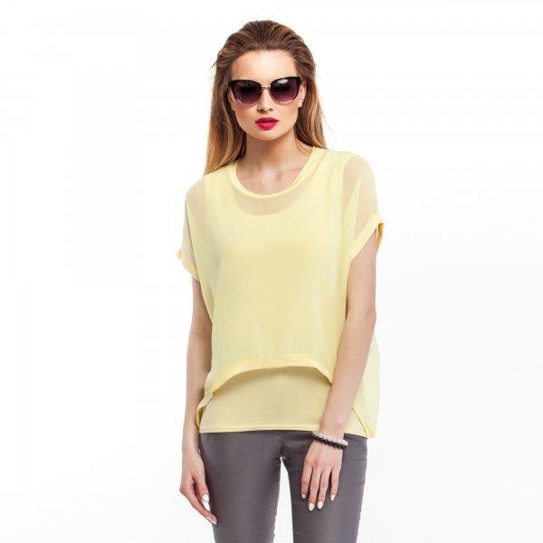 Kupić Szyfonowa bluzka damska z topem- żółta