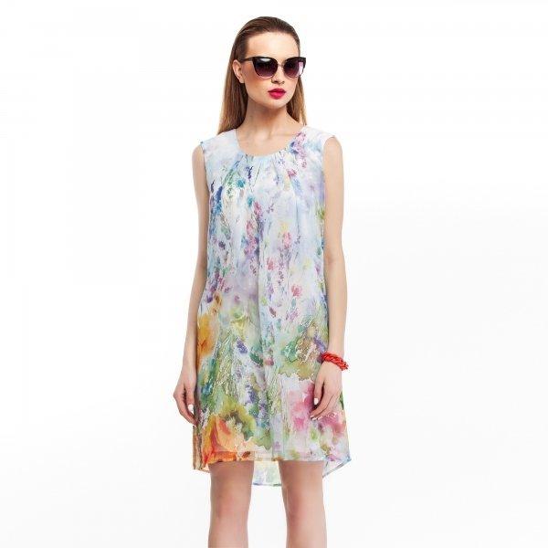 Kupić Zwiewna, szyfonowa sukienka w jasne pastelowe kwiaty
