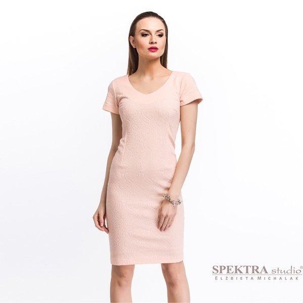 Kupić Żakardowa elegancka sukienka, pudrowy róż