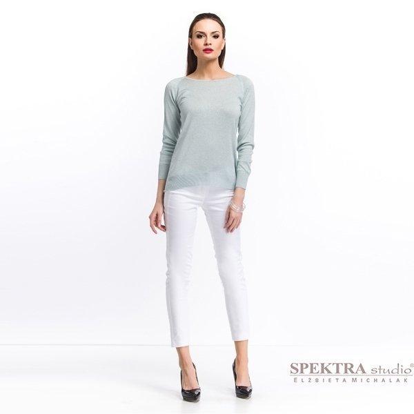 Kupić Spodnie damskie z modelującym lampasem - białe