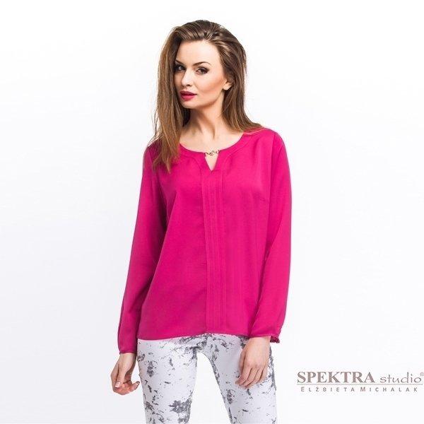 Kupić Elegancka bluzka damska z plisą i ozdobnym łącznikiem, amarantowa