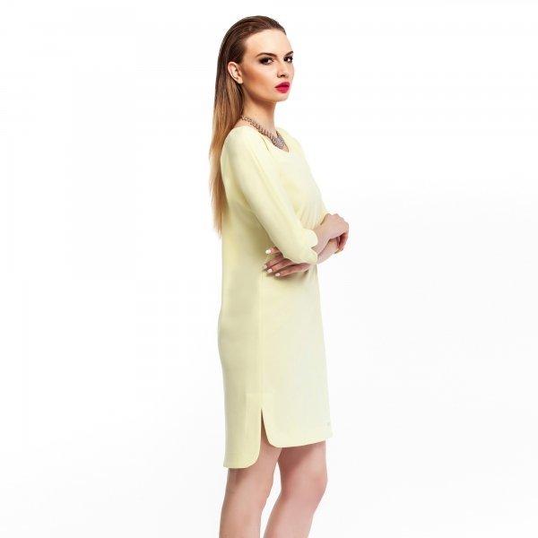 Kupić Elegancka sukienka ze sportowym wykończeniem- żółta