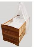 Kupić Orzechowe łóżeczko 70x140 z wyposażeniem