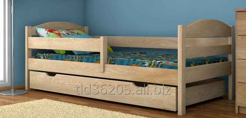 Łóżko drewniane dziecięce, szuflada na pościel, barierka ochronna, model Hana