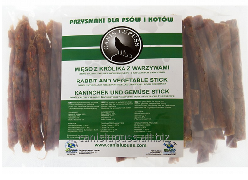 Kupić Kiełbaski z mięsa królika z warzywami dla zwierząt ze skłonnościami do alergii