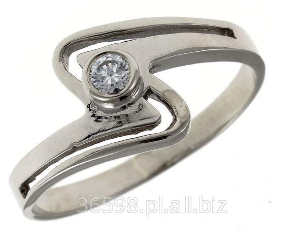 Kupić Pierścionek zaręczynowy w całości wykonany z białego złota próby 585, z cyrkonią Swarovski