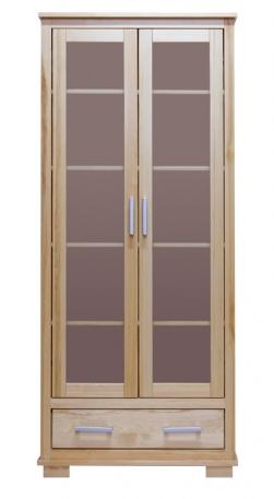 Witryna dwudrzwiowa z szufladą, naturalne drewno lakierowane