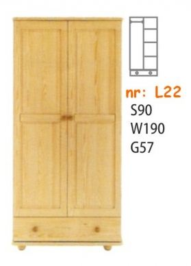 Klasyczna szafa sosnowa dwudrzwiowa L22 z szuflada na dole. Różne układy półek i drążków wewnątrz.