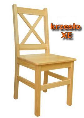 """Krzesło drewniane sosnowe XE, dwukrotnie lakierowane z międzyszlifowaniem. Modny wzór z """"X"""" na oparciu."""