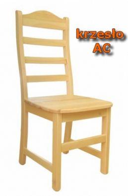 Krzesło drewniane Ac z litej sosny, lakierowane lakierem ekologicznym