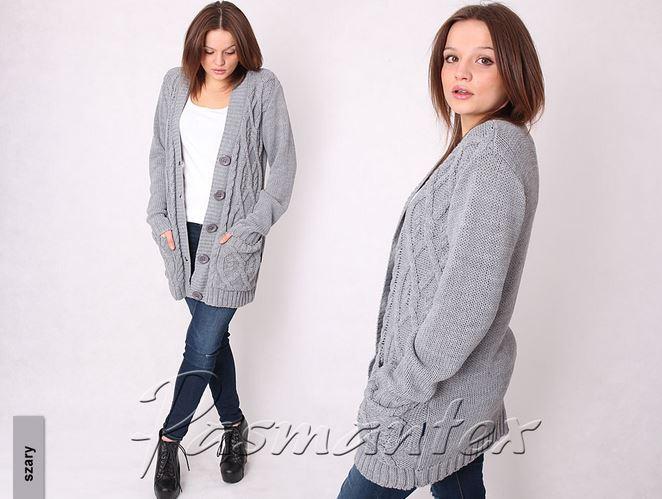 Kupić Wygodny, luźny sweter, zapinany na guziki kardigan, model Torino