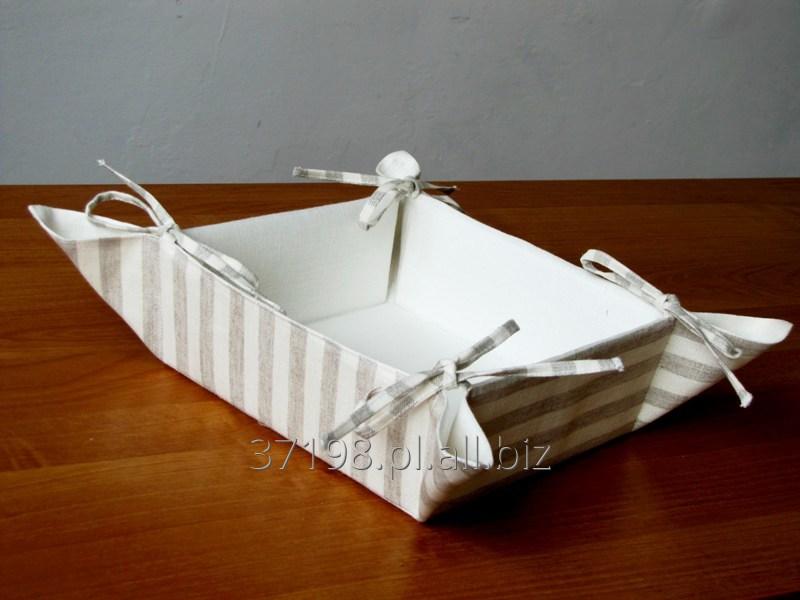 Kupić Koszyk na pieczywo wykonany z tkaniny lnianej, rozmiar 20x20 cm