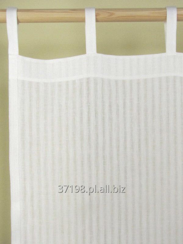 Kupić Zasłona lniana w paski uzyskane w wyniku różnicy gęstości nitek osnowy.