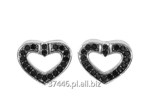 Kupić Srebrne kolczyki serca zdobione czarnymi cyrkoniami, waga 1,7g, piękny komplet na co dzień i do wieczornej sukienki.