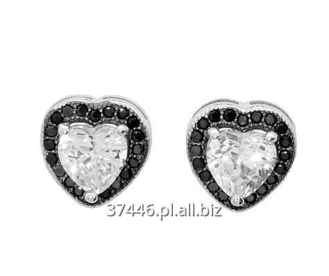 Kupić Bardzo efektowne i eleganckie kolczyki serca zdobione jasnymi i czarnymi cyrkoniami, próba srebra 925.