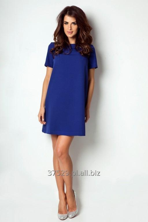 Kupić Trapezowa sukienka w chabrowym odcieniu
