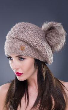 Kupić Czapka typu beret, dekoracyjny pompon, odcienie brązu i beżu