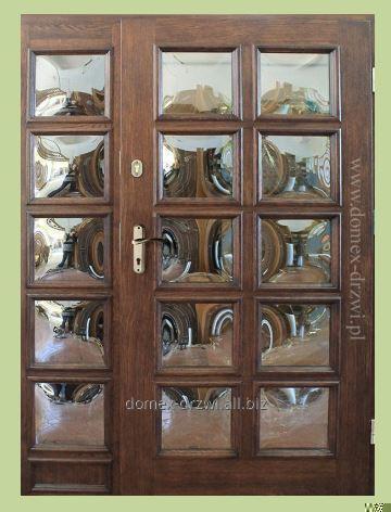 """Drzwi zewnętrzne z szybami wypukłymi """"lustrzanki"""" +1 dostawka boczna"""