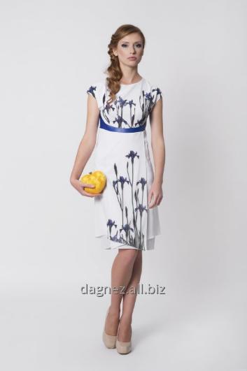 Kupić Olga, zwiewna, dziewczęca sukienka do kolan z motywem kwiatowym