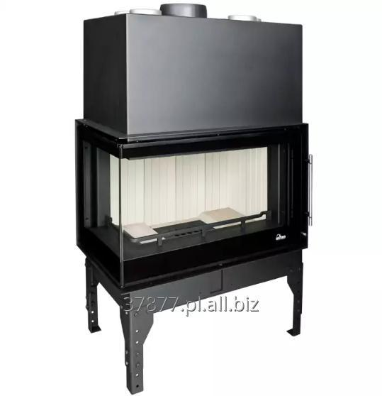 Kupić Wkład kominkowy stalowy narożny o wysokiej efektywności energetycznej osiągniętej dzięki okładzinie szamotowej. Dostosowany do systemów rozprowadzających ogrzane powietrze.