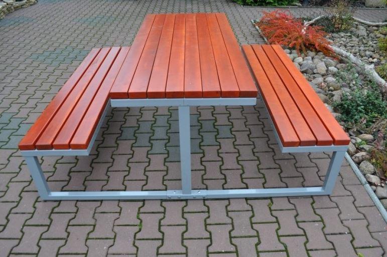 Kupić Ławostół parkowy stalowo drewniany.