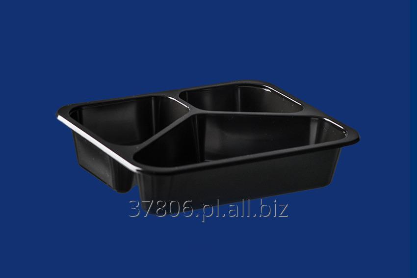 Kupić Czarne pojemniki z polipropylenu pod zgrzew, 3 dzielne, do hermetycznego pakowania dań i posiłków metodą zgrzewania.
