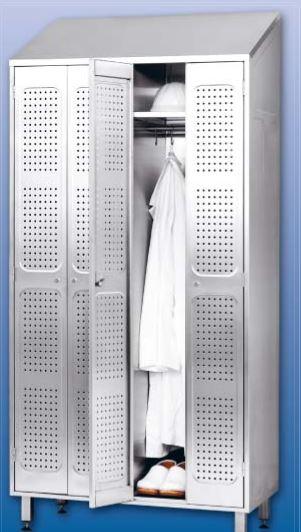 Kupić Szafa ubraniowa idealna do pomieszczeń socjalnych z dodatkową półką na kask z drzwiami z blachy perforowanej
