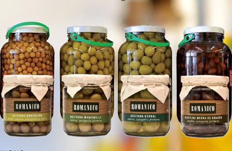 Kupić Tradycyjnie produkowane oliwki hiszpańskie, czarne i zielone, Romanico pakowane w słoiki po 195g lub 2,5 kg.