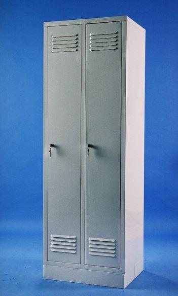 Двухдверный металлический шкаф металлический для раздевалок с замком