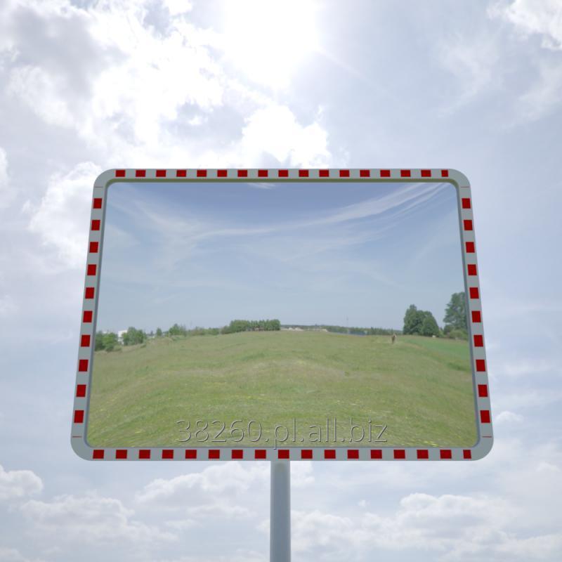 Kupić Poliwęglanowe lustra drogowe prostokątne w biało-czerwonej obudowie