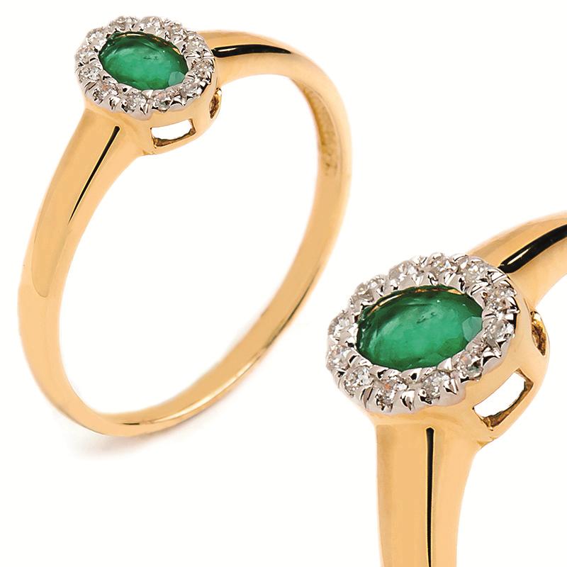 Kupić Złoty pierścionek z brylantem i szmaragdem 0.30ct