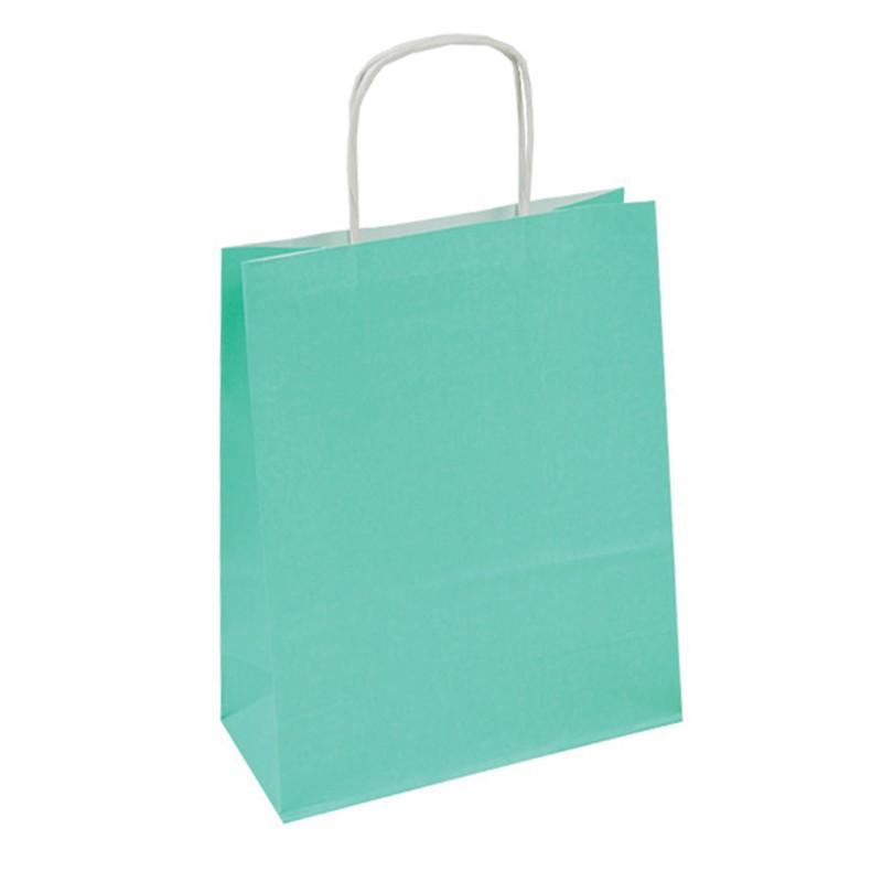 Kupić Torba papierowa pastelowa zielona 18x8x21 uchwyt skręcany