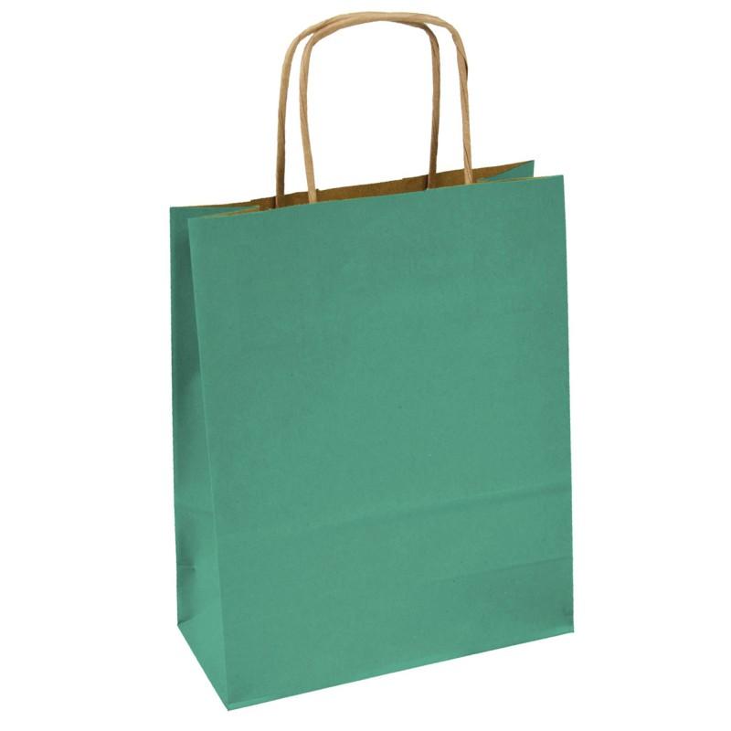 Kupić Torba papierowa zielona 18x8x21 uchwyt skręcany