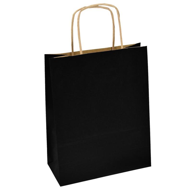 Kupić  Torba papierowa czarna 18x8x21 uchwyt skręcany