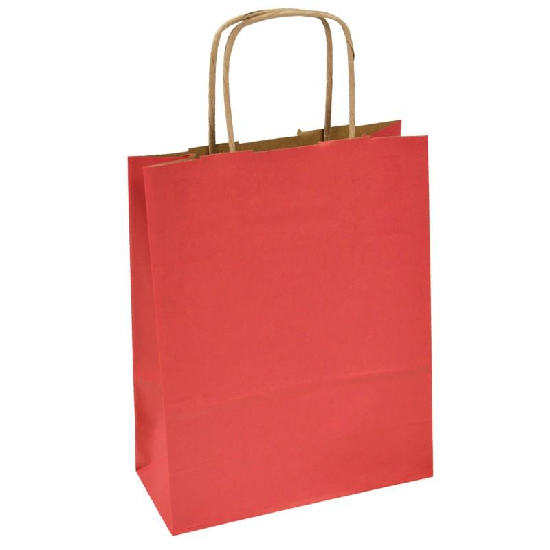 Bolsa de papel asa retorcida 18x8x21 roja