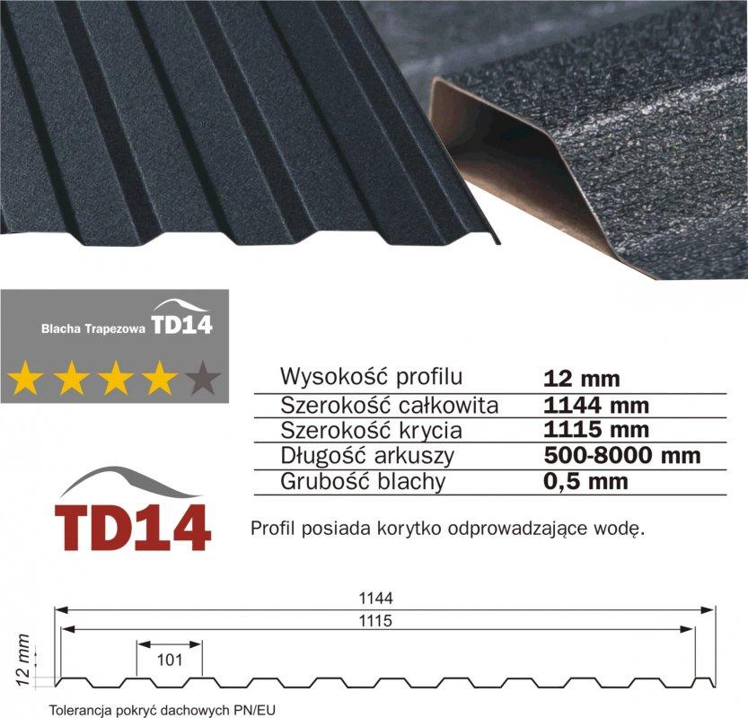 Kupić TD14 Blachodachówka oraz blache trapezowe produkowane z blach RUUKKI, SSAB, ArcelorM.