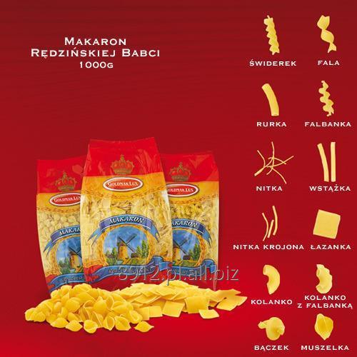 Kupić Makaron rędzińskiej babci1000g w różnych kształtach: świderek, falbanka, rurka, nitka, wstążka, łazanka, kolanko, bączek, muszelka.