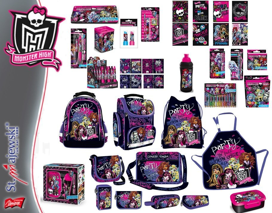 Kupić Produkty szkolne z kolekcji MONSTER HIGH - plecaki, piórniki, torby,worki, śniadaniówki, bidony, zestawy śniadaniowe, zeszyty, kredki, teczki, segregatory, farby, bruliony, długopisy itp.