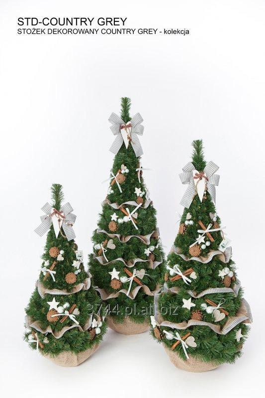 Kupić Choinka sztuczna dekorowana -Stożek - 80cm/95cm/120cm/ kolekcja COUNTRY GREY
