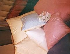 Pościel - kołdry, poduszki z wypełnieniem z naturalnego puchu lub syntetycznym.