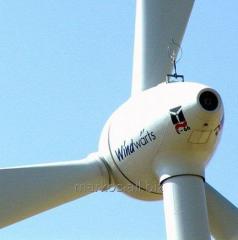 Elementy elektrowni wiatrowych.