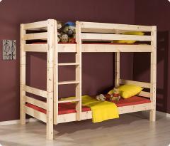 Łóżko sosnowe surowe piętrowe ze szczebelkami