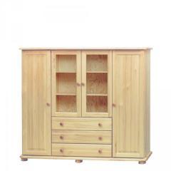 Sosnowa komoda szuflady + przeszklone drzwi