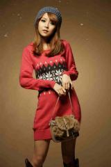 Czerwony Długi Sweter-Tunika we Wzory Wiosna 2012