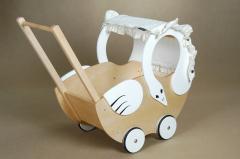Wózek dla lalek Łabądek sosna-ecri