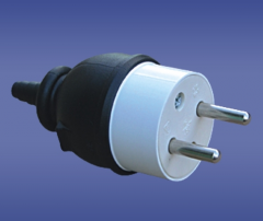 Industrial two-pin plugs and plug sockets