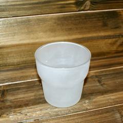 Świecznik szklany - szklanka 7x7 cm mleczna